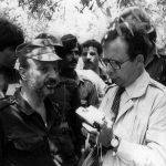 OPCC life member Jim Pringle interviews Palestinian leader Yasser Arafat.