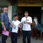 Adam John Clarke, Michael (then the local paper boy) Hurley Scroggins and Sharon Chan at Cantina in Phnom Penh.