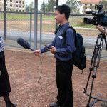 Helen Jarvis is interviewed outside the Khmer Rouge Tribunal. Jerry Harmer on camera.