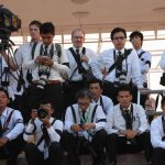 Roland Neveu (centre) and Khmer photographers during the funeral for the late King Father Norodom Sihanouk.