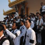 Photographers line up during the funeral of the late King Father Norodom Sihanouk.