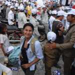 Journalist Manny Muang in Phnom Penh during campaigning for the 2013 elections.