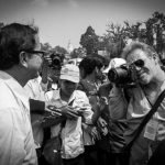 Opposition leader Sam Rainsy and journalist Luke Hunt.