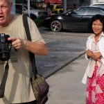 Film maker Craig Skehan working the streets of Phnom Penh.
