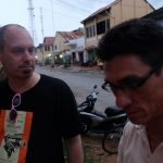 Musician Scott Bywater and OPCC board member Robert Starkweather at the 2015 inaugural Kampot Readers and Writers Festival. Starkweather was a founding organizer of the festival.