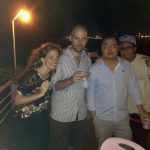 Journalists Kate Bartlett, Sebastian Strangio, Irwin Loy and Rick Valenzuela aboard an OPCC booze cruise.